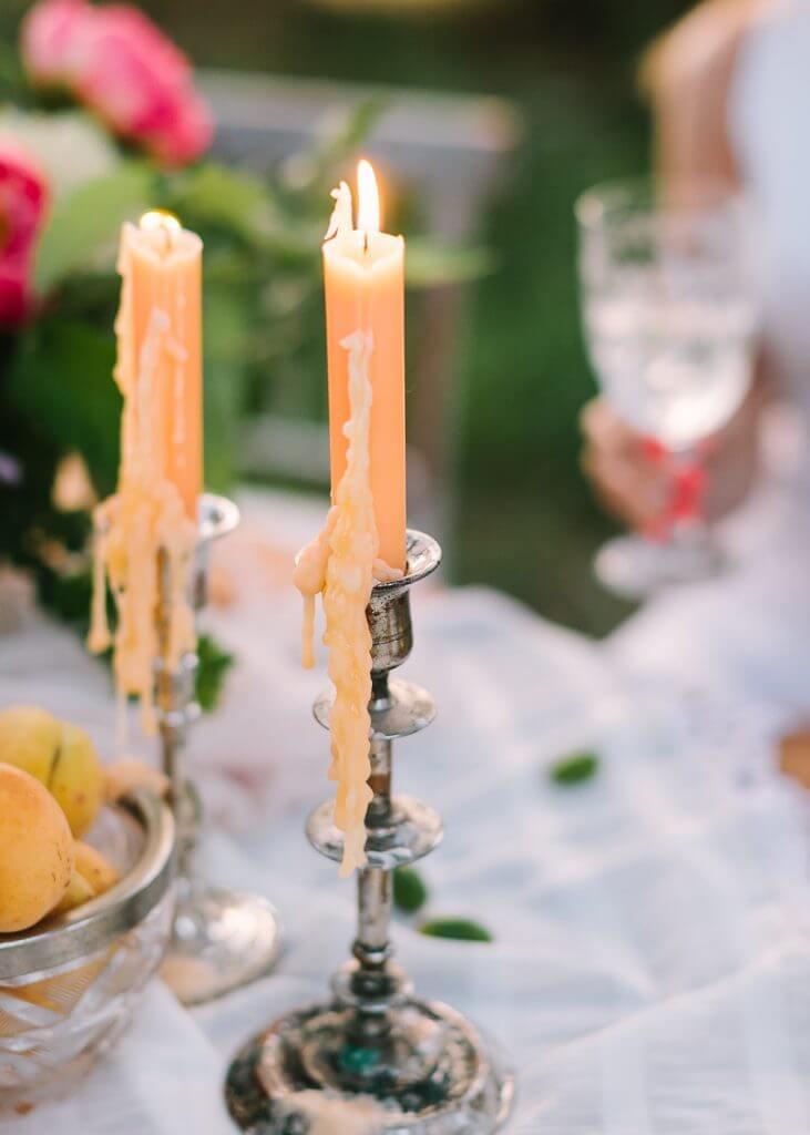 Organic peach destination wedding pic candles