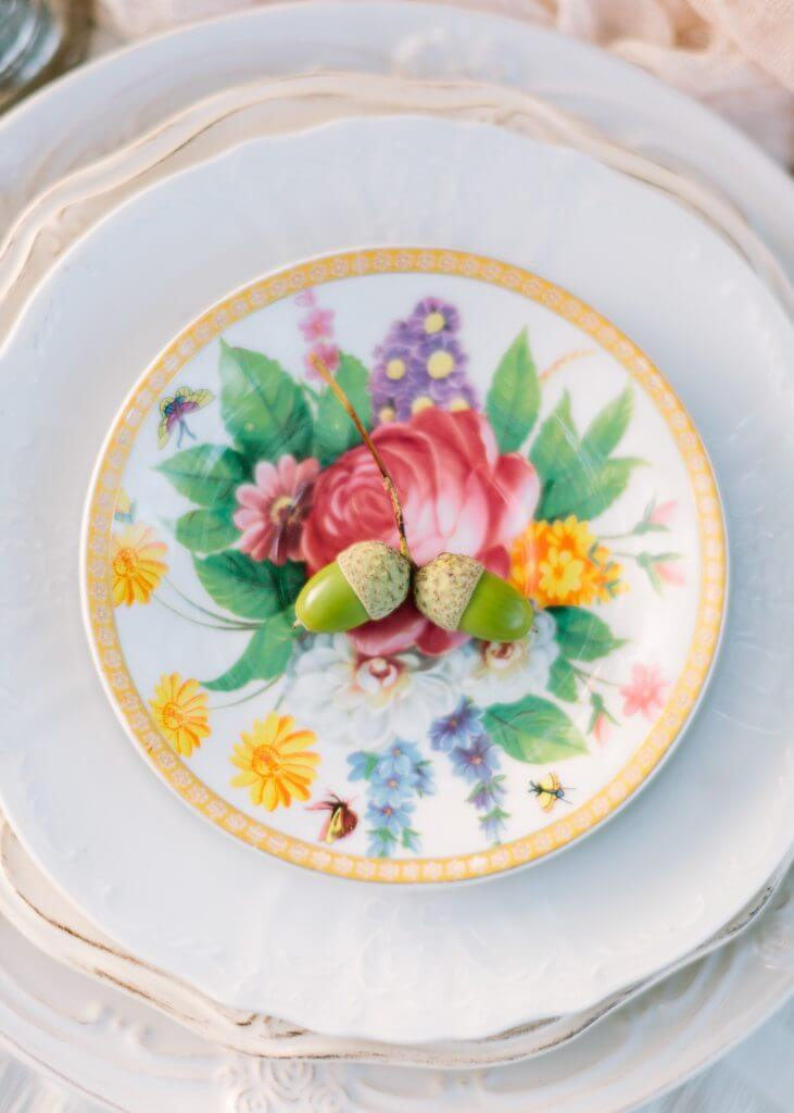 Organic peach destination wedding pic table plate detail