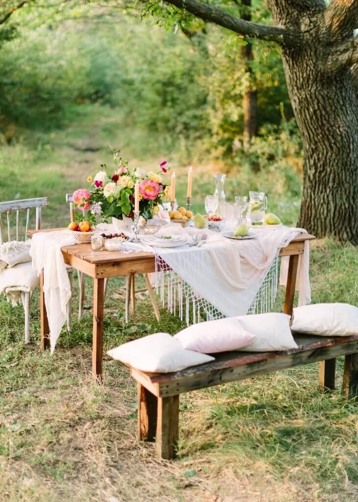 Organic peach destination wedding picnic table