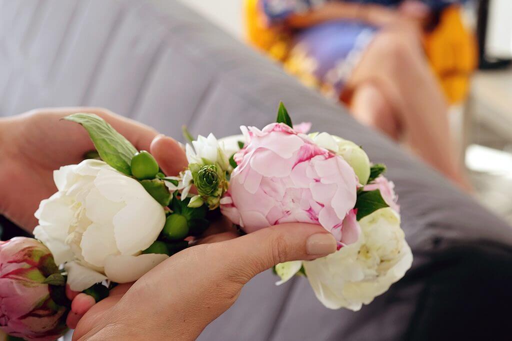 Destination wedding in island paros flower crown