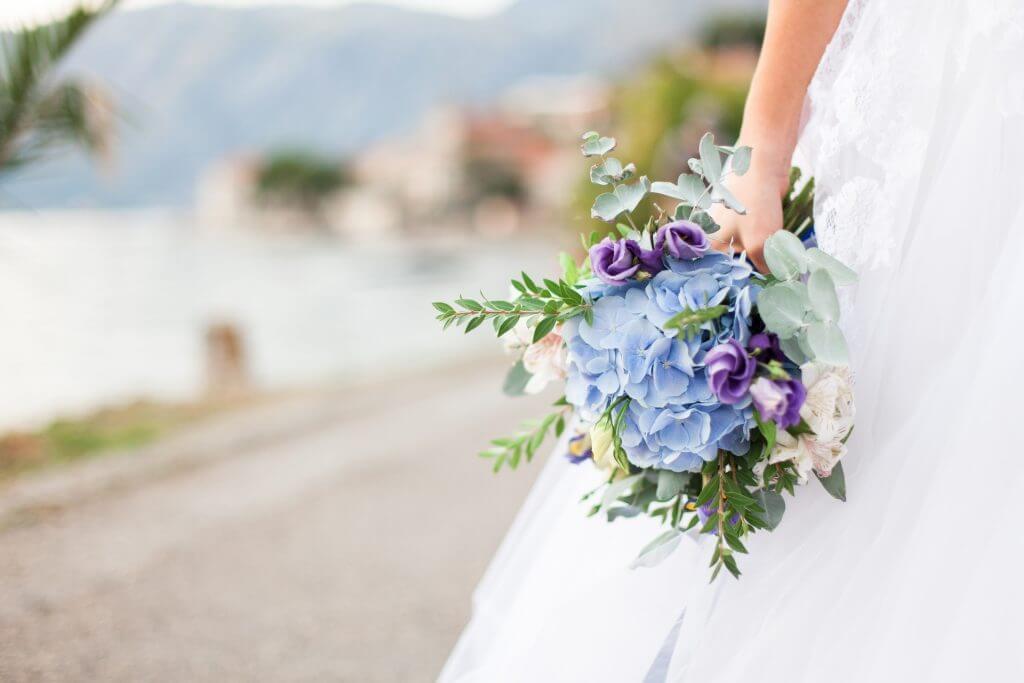 blue hydrangenea bridal bouquet