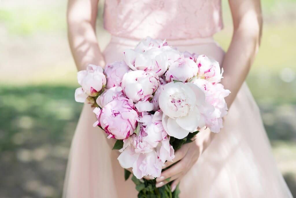light pink peonies bridal bouquet