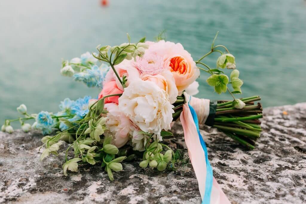 peonies bellflower dahlia bridal bouquet