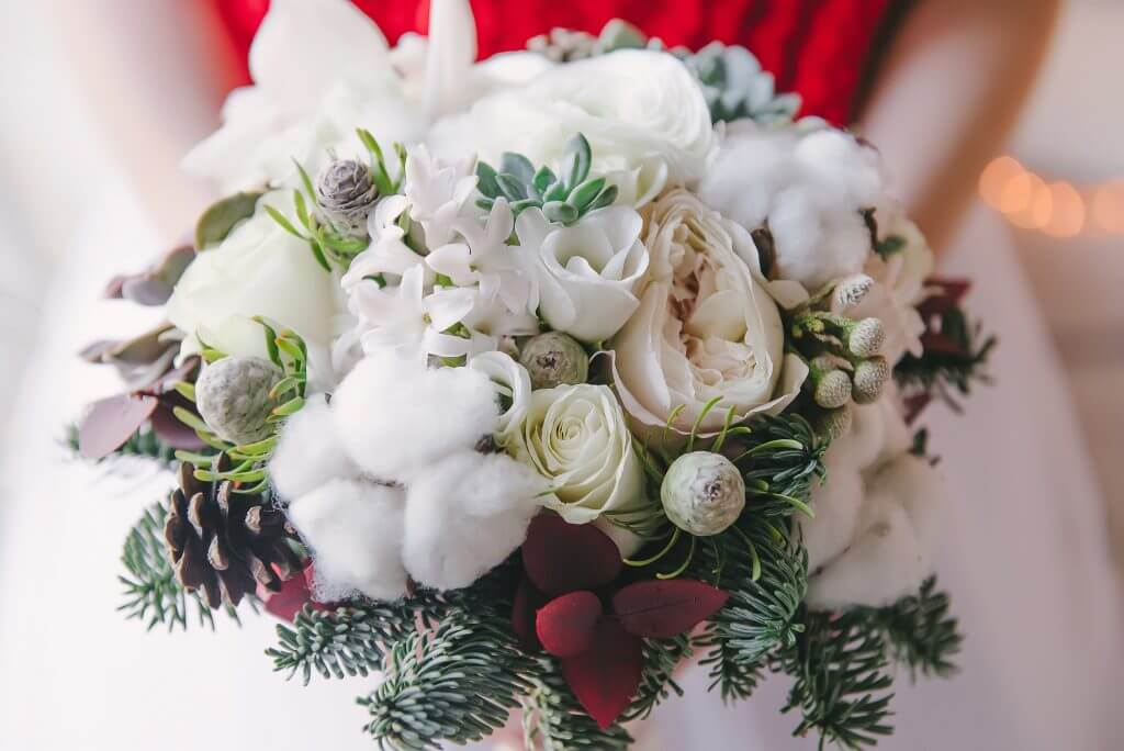 seasonal christmas bridal bouquet