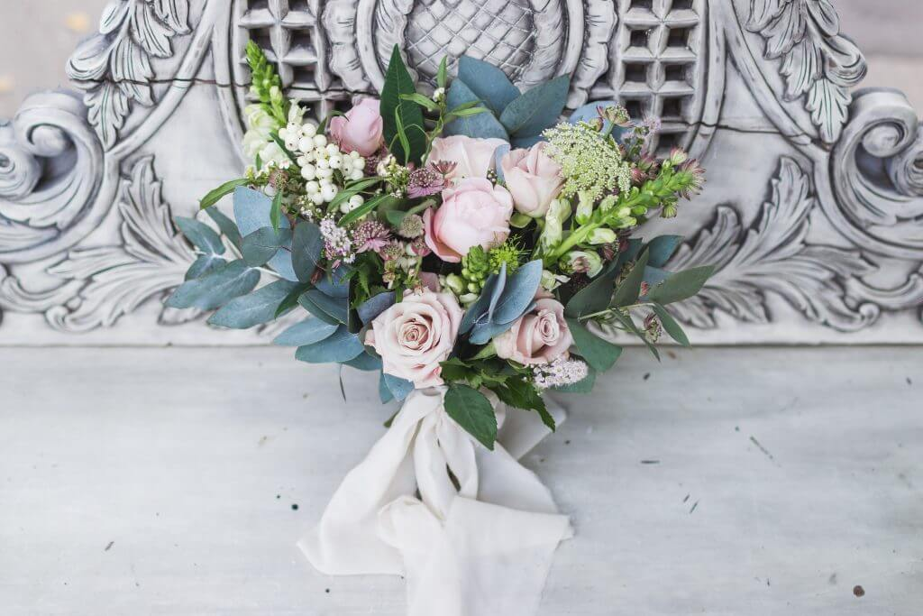 snowberries greenery roses bridal bouquet