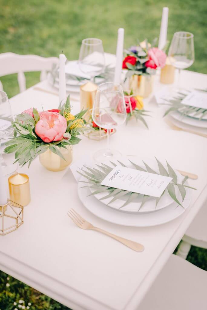 gold pink peony table decoration