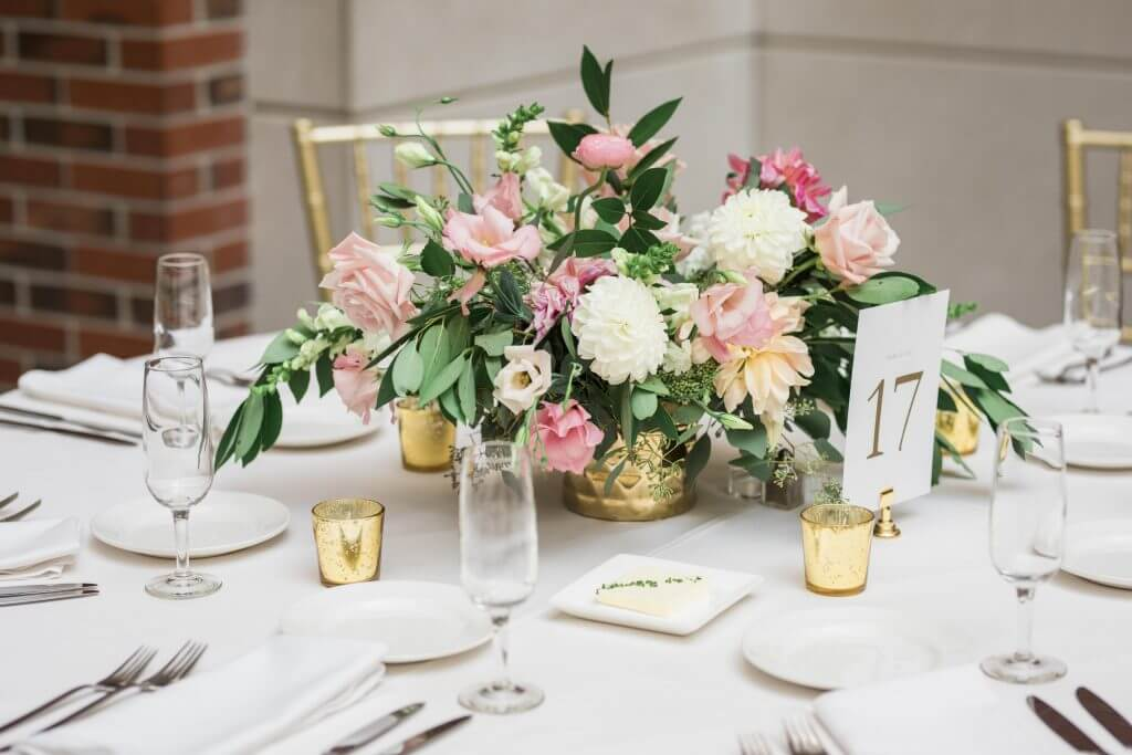 gold pink roses centerpiece