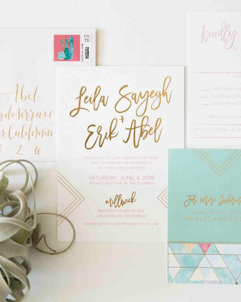 prim & pixie geometric wedding invitation trend
