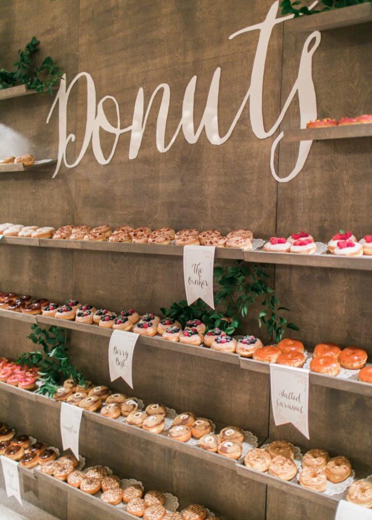 wedding food idea donuts wall