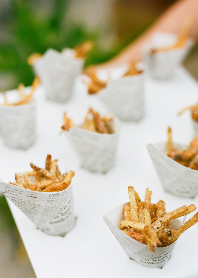 French fry bar at a wedding