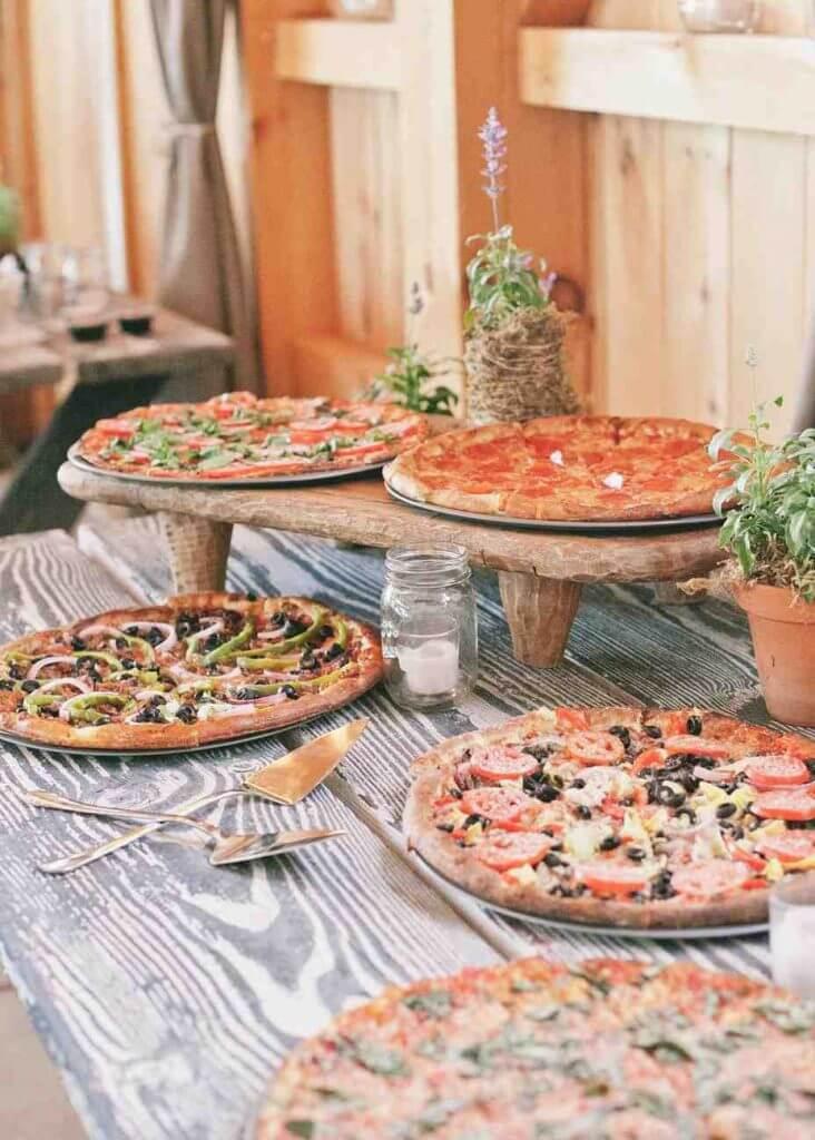 pizza at a wedding buffet