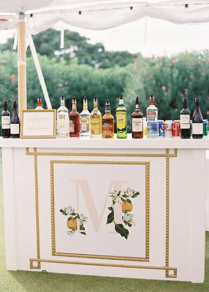open bar at a wedding