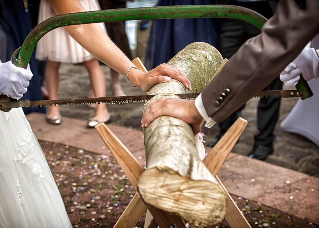 German wedding tradition saw a log