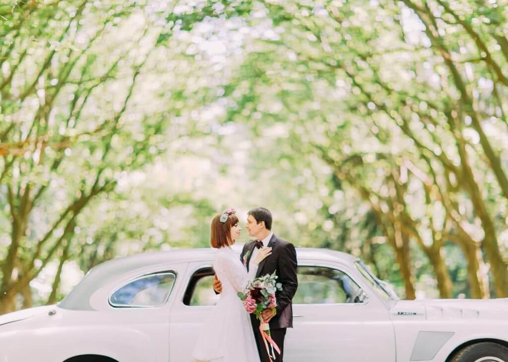 vintage car wedding transportation idea