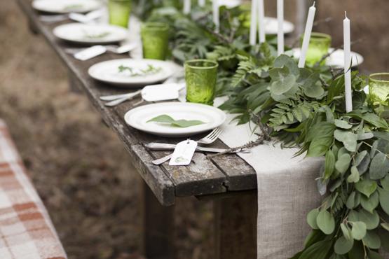 leather fern ecalyptus leaves Wedding decoration idea greece