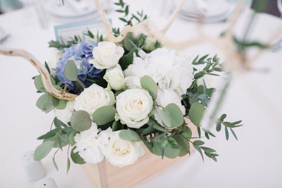 white blue hydrangea Wedding decoration idea greece