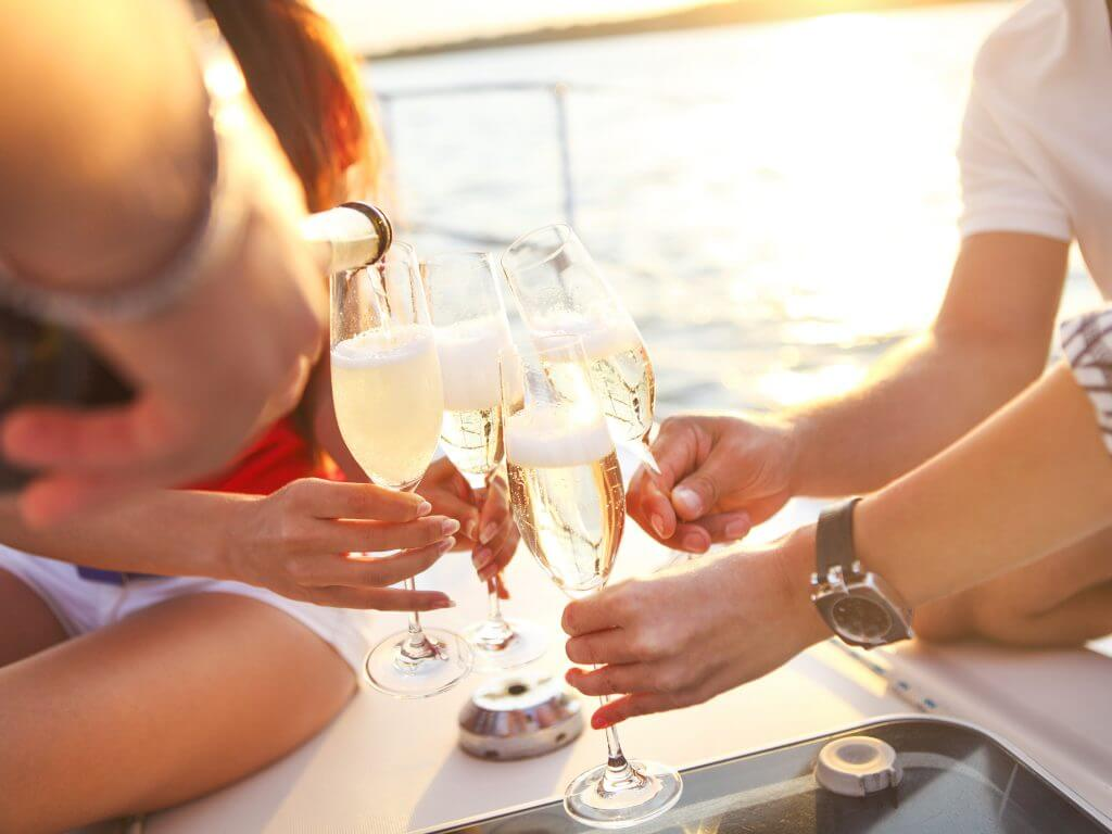 Yacht Wedding Party Cheers