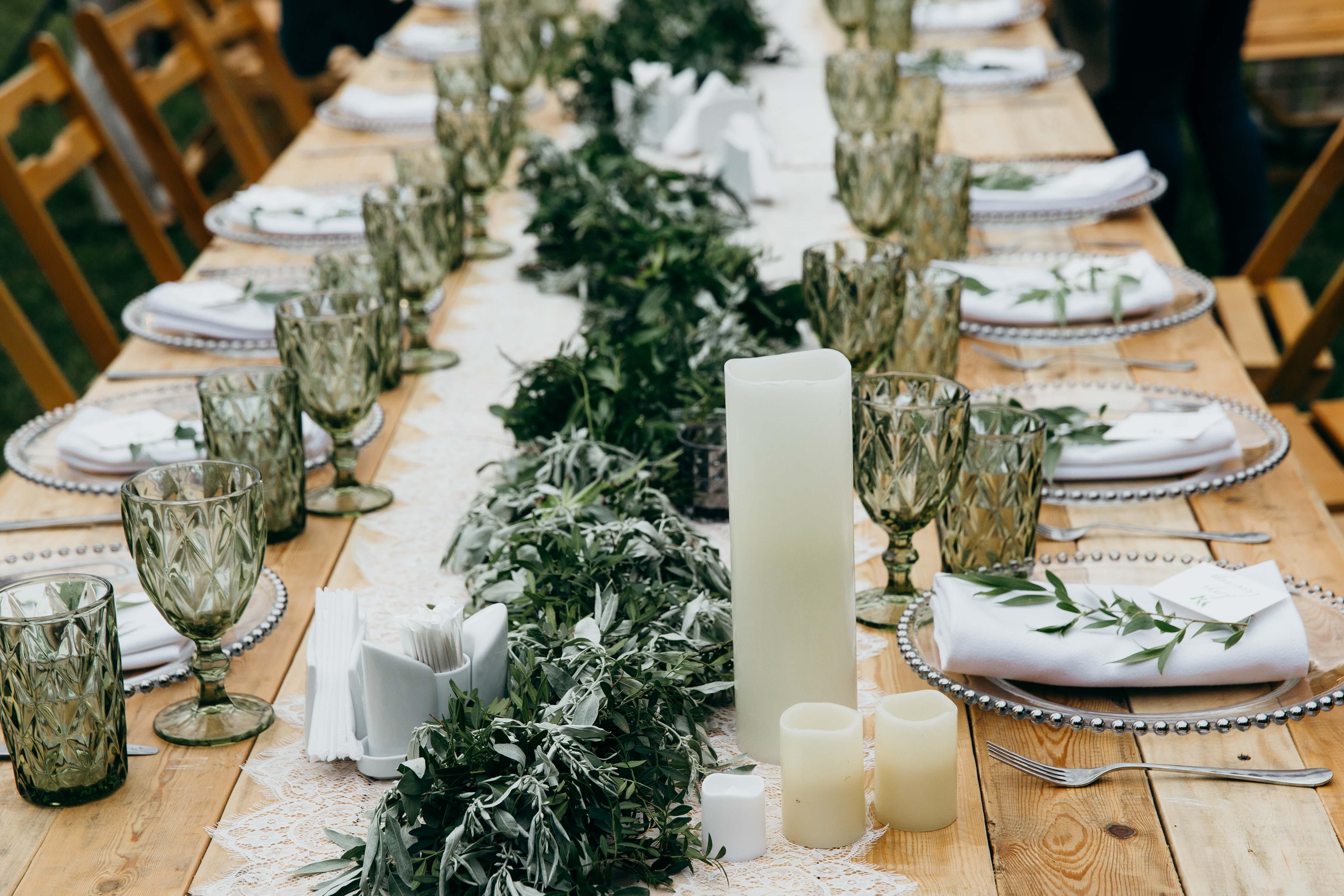 Make Happy Memories Greenery Table Runner
