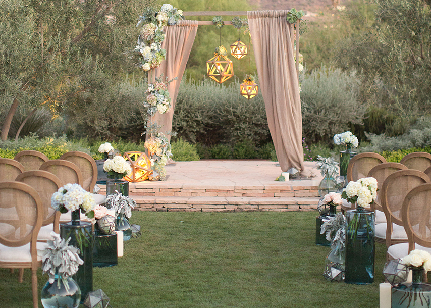 lantern wedding arch make happy memories