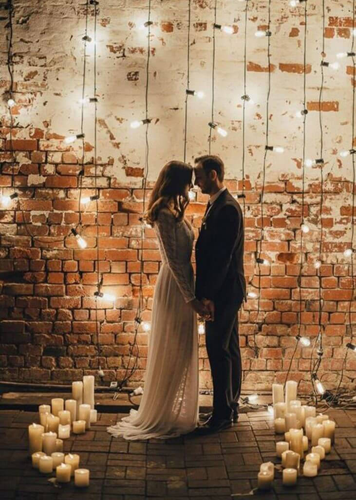 string lights wedding arch make happy memories
