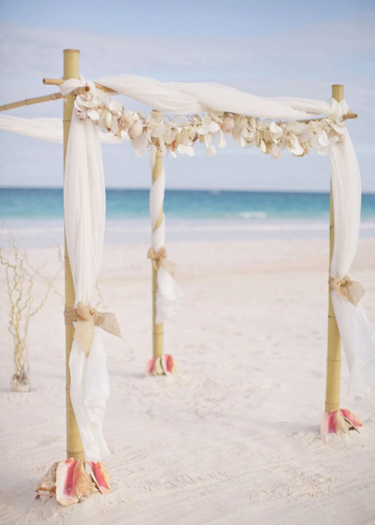 shell wedding arch make happy memories